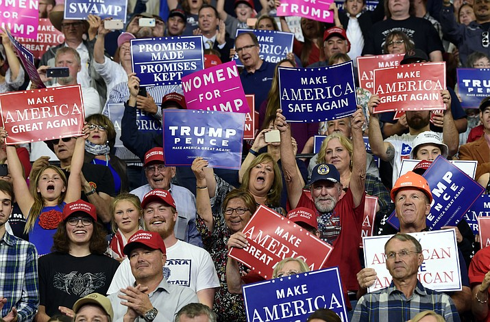 People cheer as President Donald Trump arrives to speak at a rally in Billings, Mont., Thursday, Sept. 6, 2018.(Susan Walsh/AP Photo)