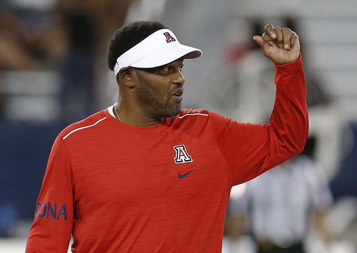 Arizona head coach Kevin Sumlin in the first half during an NCAA college football game against Brigham Young, Saturday, Sept. 1, 2018, in Tucson. (Rick Scuteri/AP)