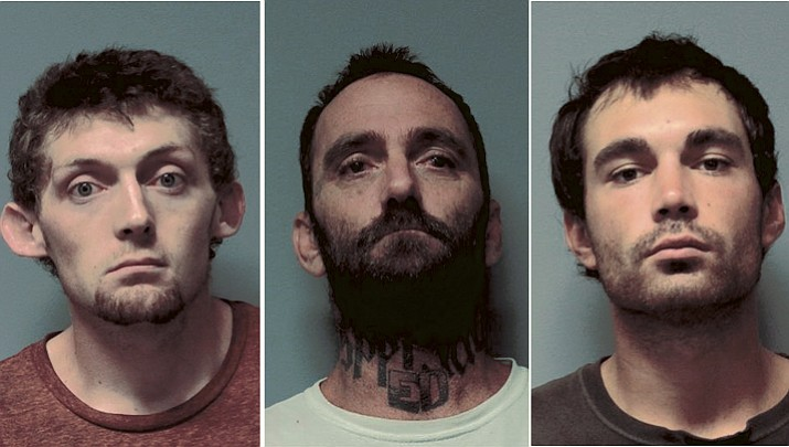 From left, Chester Buntin, Edward Walters and Michael Aaron Walters are pictured after being arrested for posting a Craigslist ad offering stolen property Sept. 4, 2018. (YCSO/Courtesy)