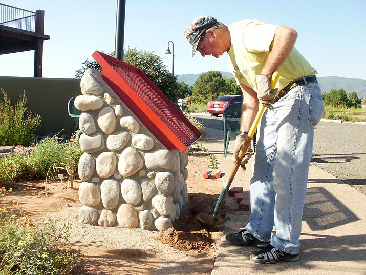 The Old Guys recently finished several weeks of work on a monument to house donor bricks at the Camp Verde Community Library. Photos courtesy of Nancy Floyd.