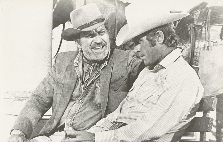 Robert Preston and Steve McQueen at the train station, in Junior Bonner. (Mike Siegel collection/Courtesy)