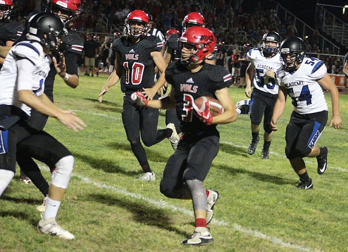 Lee Williams' Robert Paulson returns a fumble recovery during the second quarter Friday night at LWHS. (Photo by Beau Bearden/Daily Miner)