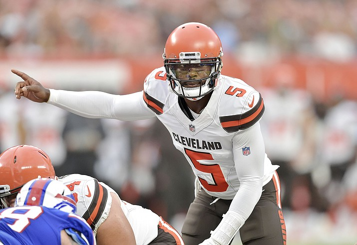 In this Aug. 17, 2018, file photo, Cleveland Browns quarterback Tyrod Taylor (5) stands at the line during the team's NFL football preseason game against the Buffalo Bills in Cleveland. For the Browns, winning the season opener over Pittsburgh could bring closure: the end of a 17-game losing streak; the first opening-week victory since 2004; more relief from the haunting memories of an 0-16 season; and a new beginning for a franchise and fan base that has suffered far too long. (David Richard/AP, File)