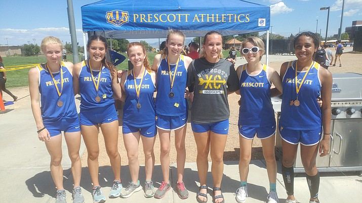 Prescott's varsity girls' cross-country team placed third out of eight teams at the 2018 Wherley Invitational Saturday, Sept. 8, at Embry-Riddle Aeronautical University. From left, the Badgers' Makenna Bray, Tea Castro, Emily McMahon, Michelle Parent, Carley Davis, Taylor Teed and Dynasty Greer. Not pictured: Alyssa Moise. (Doug Cook/Courier)