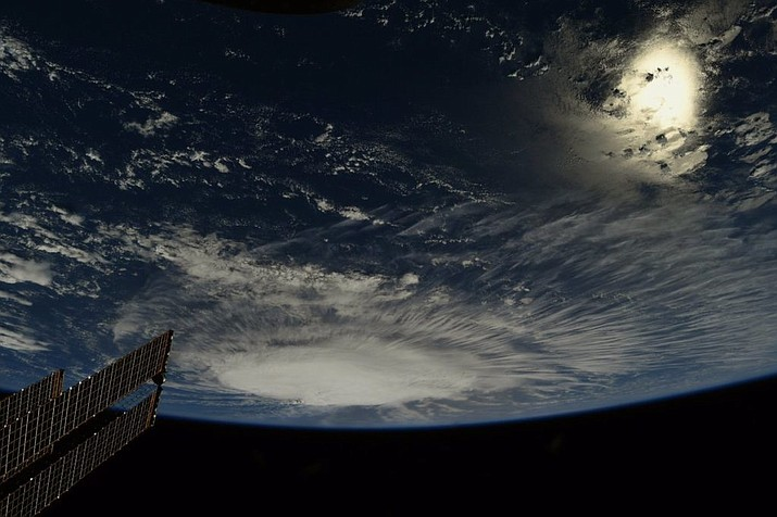 Astronaut Ricky Arnold captured this image from the ISS of Florence strengthening in the early morning hours over the Atlantic. (Photo provided by NASA)