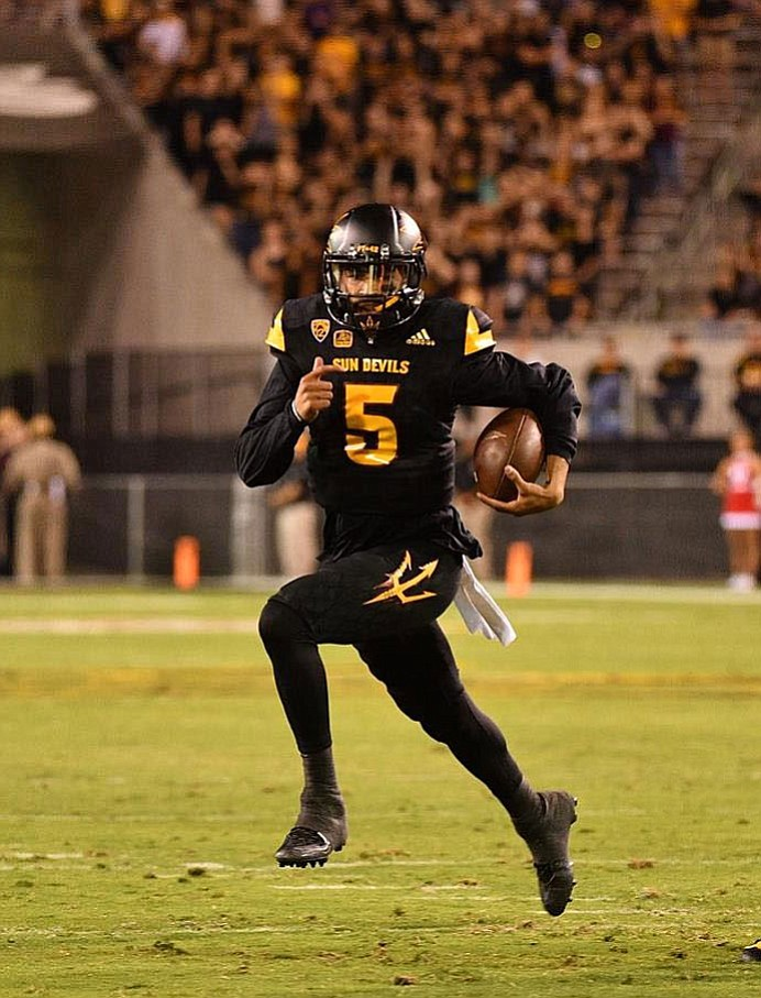Manny Wilkins missed some deep throws early, but found his mark when Arizona State needed him most. (Photo courtesy of ASU)