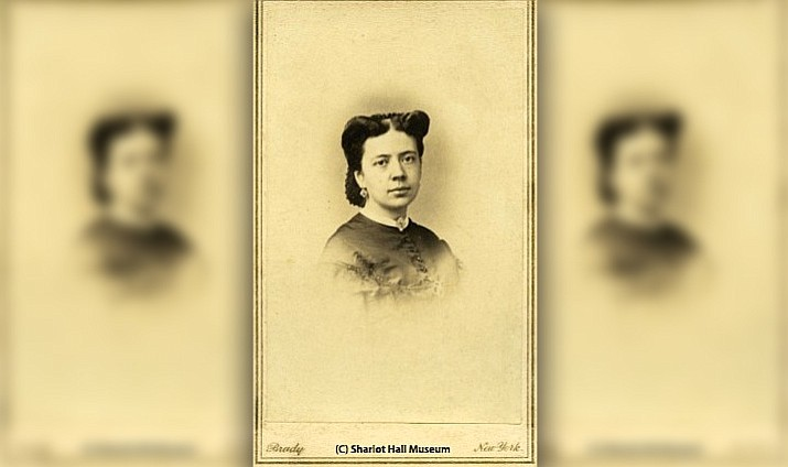 Calling card photo of Margaret Griffiths (Hunt) McCormick (b. 1843-d. 1867) who died from complications of childbirth after less than two years of marriage to Richard McCormick. Photo by Brady Studios, c. 1860s. (Call number: McCormick Collection, MS-35, 1986.0076.0011.) Image courtesy of the Sharlot Hall Museum Library & Archives