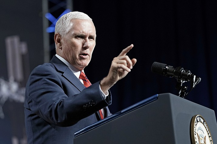 "Vice President Mike Pence, shown speaking Aug. 23, 2018, during a visit to NASA's Johnson Space Center in Houston, says he's ""100 percent confident"" that no one on his staff was involved with the anonymous New York Times column criticizing President Donald Trump's leadership. (David J. Phillip, AP Photo File)"