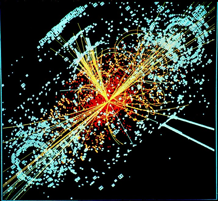 An example of simulated data modeled for the CMS particle detector on the Large Hadron Collider (LHC) at CERN. Here, following a collision of two protons, a Higgs boson is produced which decays into two jets of hadrons and two electrons. The lines represent the possible paths of particles produced by the proton-proton collision in the detector while the energy these particles deposit is shown in blue.  (By Lucas Taylor / CERN (http://cdsweb.cern.ch/record/628469) [CC BY-SA 3.0  (https://creativecommons.org/licenses/by-sa/3.0)], via Wikimedia Commons)