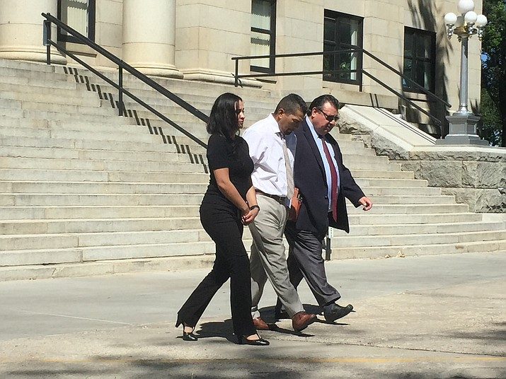 Cecilio Cruz leaves the Yavapai County Superior Courthouse in Prescott with his new attorney, Alex Gonzalez (right), Monday afternoon, Sept. 10, after a pretrial conference. (Max Efrein/Courier)
