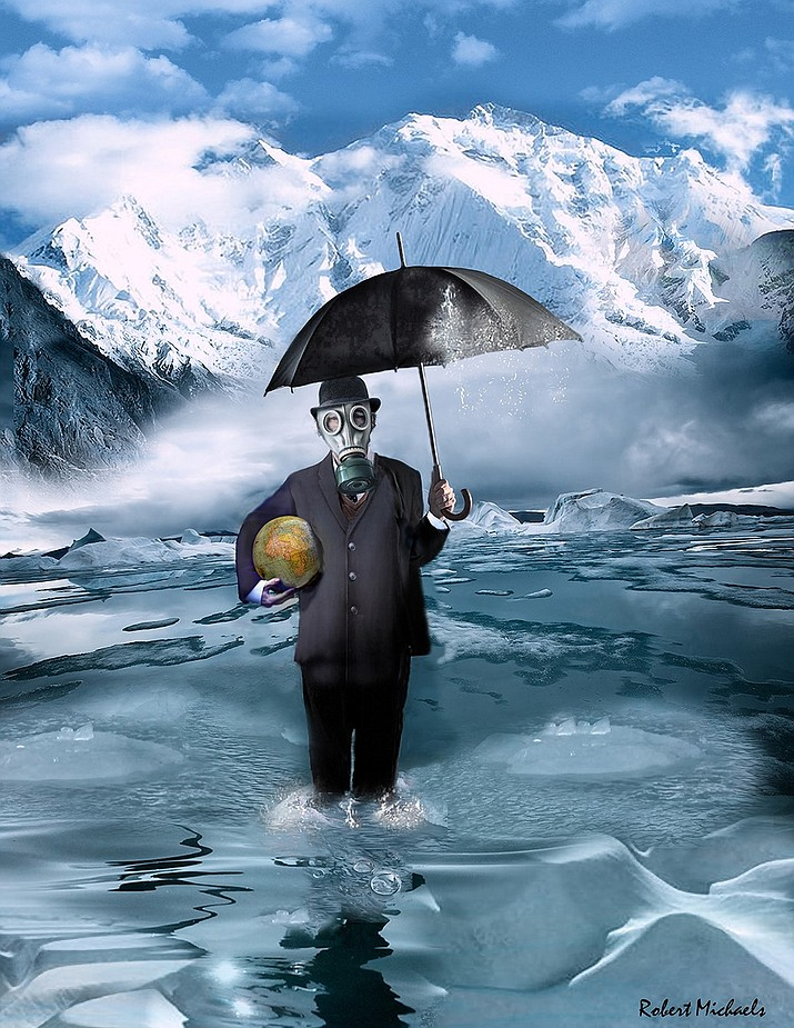 """Global Warming, first place by Robert Michaels, is an ""in your face"" social statement about the future of earth. Pristine snow covered mountains surround the figure. A closer examination, however, of the midrange of the composition shows small icebergs and glaciers melting into the water swirling around the ankles of the figure."