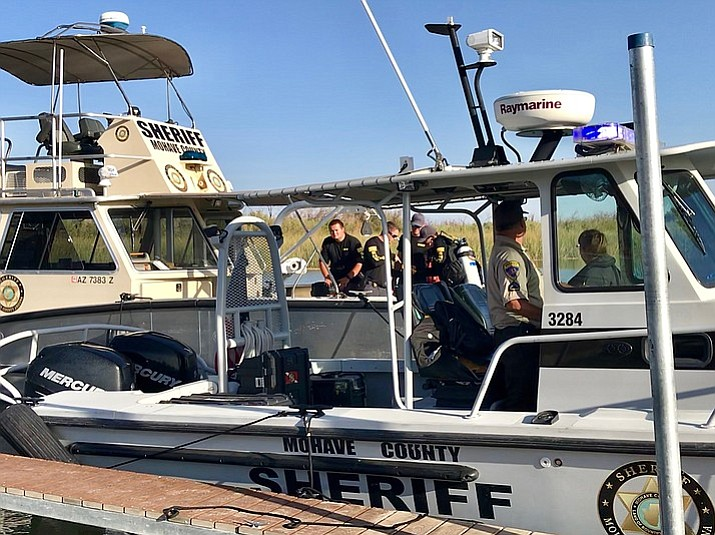 Searchers looking for the body of the fourth victim in a fatal boat crash that occurred last Saturday on the Colorado River near Topock. (MCSO photo)