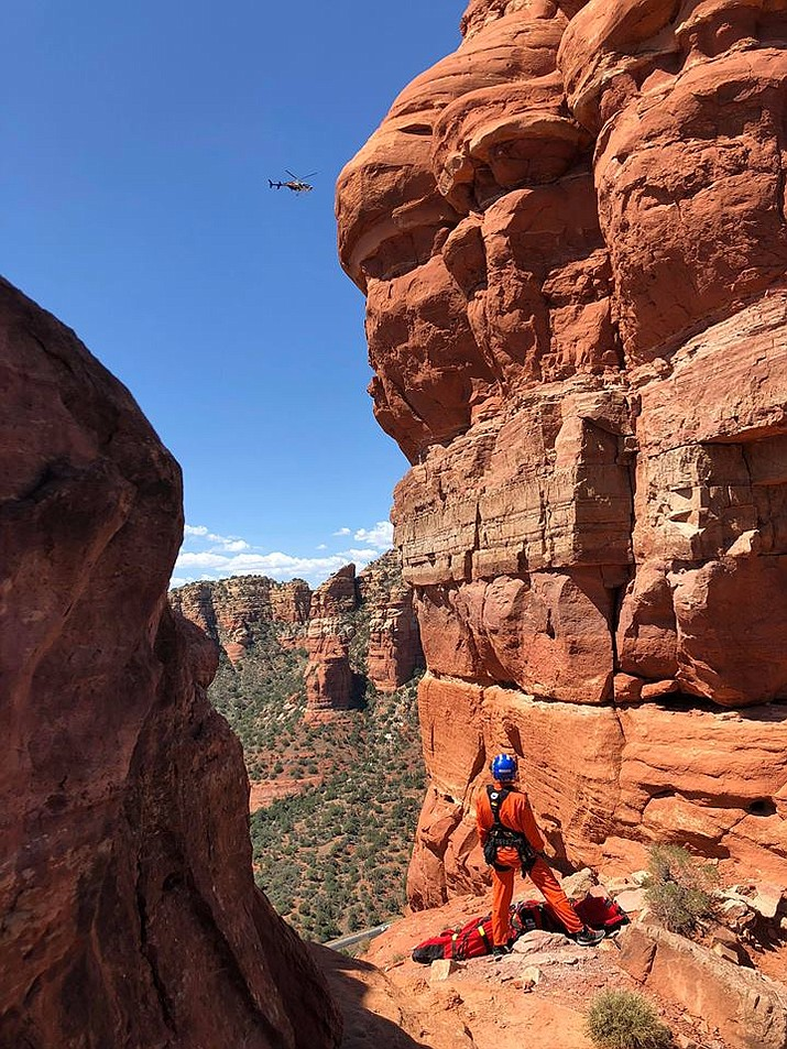Two helicopters from Arizona Department of Public Safety were utilized during the rescue. Ranger 56 extracted the injured hiker from the summit and Ranger 58 transported the injured party to Flagstaff Medical Center. Photos courtesy of Sedona Fire and AZDPS