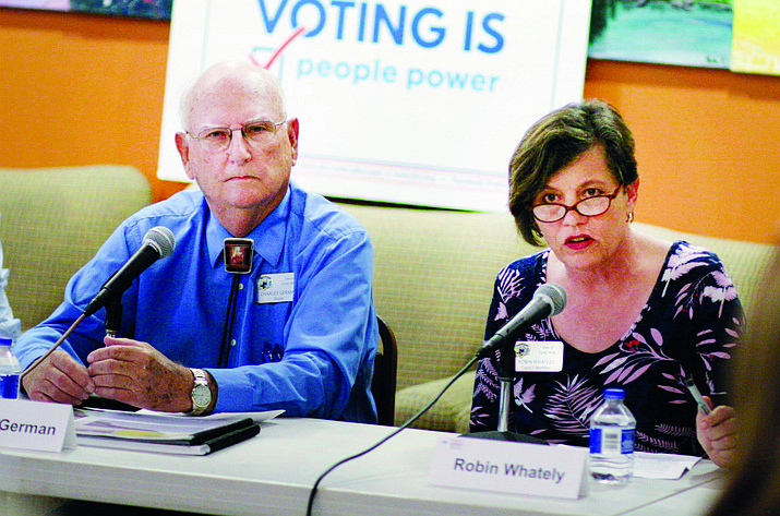 During Wednesday's special session, Robin Whatley, pictured with Camp Verde Mayor Charlie German, will receive a certification of election from the Camp Verde Town Council. Whatley was elected on Aug. 28 to continue her service on town council. VVN/Bill Helm