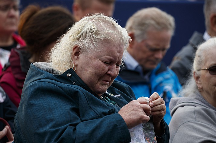 Family members of Flight 93 listens during the September 11th Flight 93 Memorial Service, Tuesday, Sept. 11, 2018, in Shanksville, Pa. (AP Photo/Evan Vucci/Ap Photo)