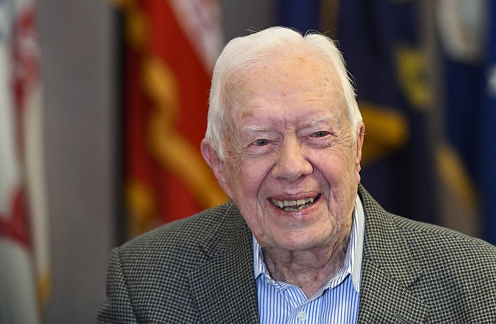 Former President Jimmy Carter, 93, sits for an interview before a book signing April 11, 2018, in Atlanta. (John Amis/AP Photo File)