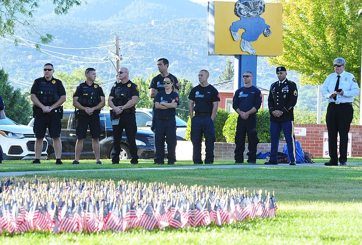 First responders attend Prescott High School's 9/11 ceremony Monday Sept. 11, 2018 in Prescott. (Les Stukenberg/Courier)