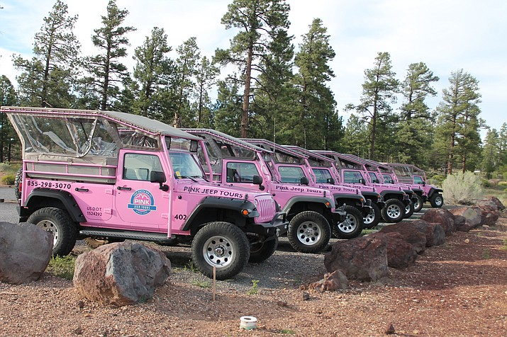 Pink Jeep tour vehicles were moved to the property in from of the National Geographic Visitor Center to deter vandalism. (Erin Ford/WGCN)