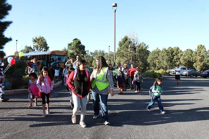 Faculty walked to school with students to ensure their safety Sept. 6. (Erin Ford/WGCN)