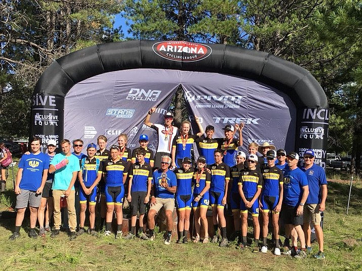 The Prescott mountain biking team poses for a photo after taking first in season-opening meet Sunday, Sept. 9, in Flagstaff. (Kate Phelan/Courtesy)