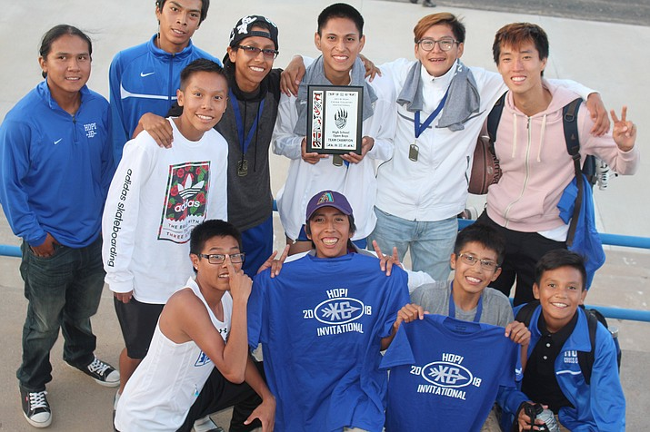 Hopi High boys cross country took first place at the Hopi Invite Aug. 28 at Hopi High School. (Stan Bindell/NHO)