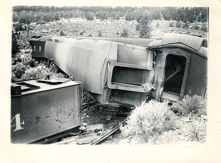 A train crash near Williams on the Atchison, Topeka, and Santa Fe Railroad circa 1940s. (Williams Historic Photo Archive)