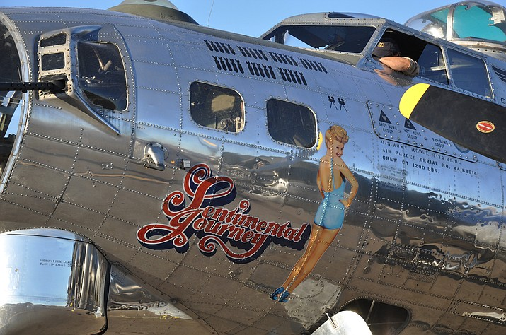 The American-made B-17G Sentimental Journey sits on the tarmac of the Laughlin/Bullhead International Airport as if it was ready for a bombing mission during WWII. Sentimental Journey is one of the only eight B-17s worldwide that are airworthy. (Photos by Butch Meriwether/For the Daily Miner)