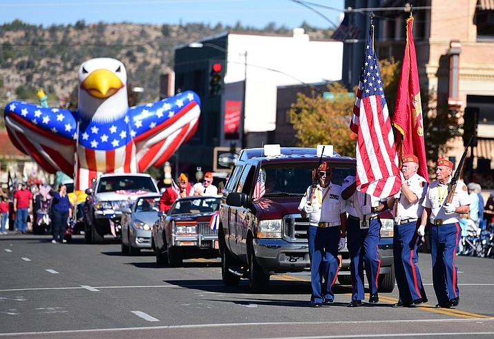 The 2018 Veterans Day Parade will be held on Saturday, November 10, 2018 in Downtown Prescott. Opening ceremonies will take place at 10:30 a.m. on the stage at the intersection of Cortez St. and Union St., with the parade beginning at 11:00 a.m. The city is inviting parade entrants from the community to compete in seven categories. (Les Stukenberg/Courier File)