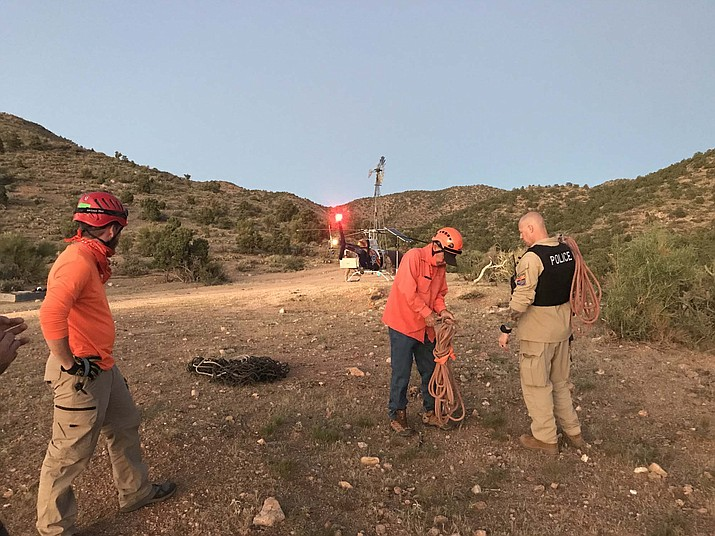 Mohave County Sheriff's Office Search and Rescue team help recover an all-terrain vehicle that rolled over Wednesday in the Devil's Dip area, killing the 64-year-old male rider. (Photo by MCSO)