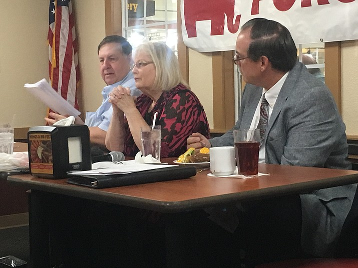 Kingman Unified School District school board incumbent Carole Young and candidate Cliff Angle, attended Wednesday's Mohave Republican Forum to discuss school safety and the Red for Ed movement. (Photo by Vanessa Espinoza/Daily Miner)