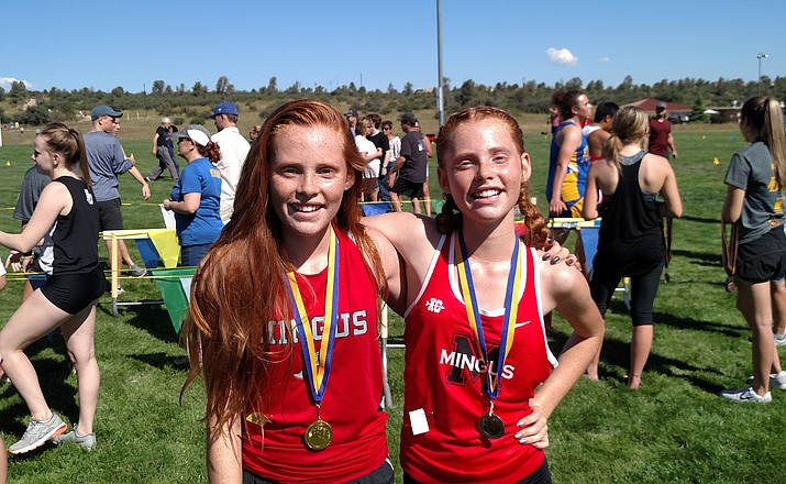 Freshmen Claire and Aubrey Peterson went 1-2 in the frosh-soph race at the Ray Wherley Invitational Saturday. VVN photos by Dan Engler