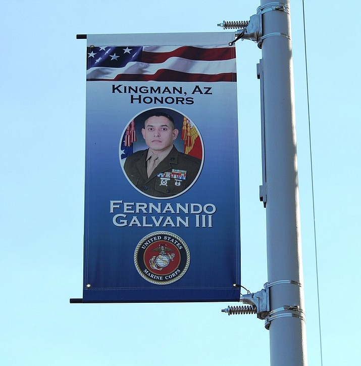 A banner honors Fernando Galvan III, son of Mary Lou Galvan, who founded Tri-State Veterans Honors Trust in 2017. Applications for the fourth banner installation are due by Oct. 1. (COURTESY)