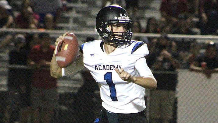 Kingman Academy's Dallas Edwards passed for two touchdowns Friday in a 24-13 win over Coronado. (Daily Miner file photo)