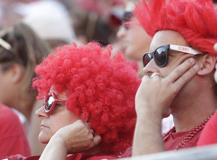 Wisconsin fans watch during the second half of an NCAA college football game against BYU Saturday, Sept. 15, 2018, in Madison, Wis. BYU won 24-21. (Morry Gash/AP)