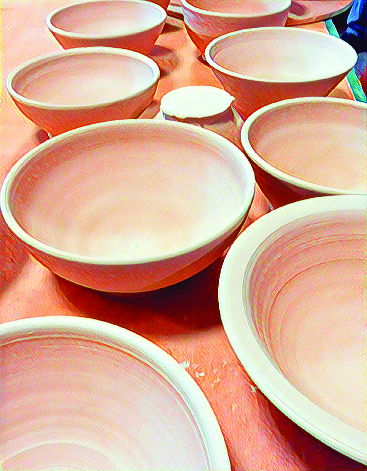 Newly made bowls await glazing in preperation for this year's 21st annual Empty Bowls of Prescott is from 11 a.m. to 2 p.m. Sunday, Sept. 16 at courthouse plaza. (Courtesy)