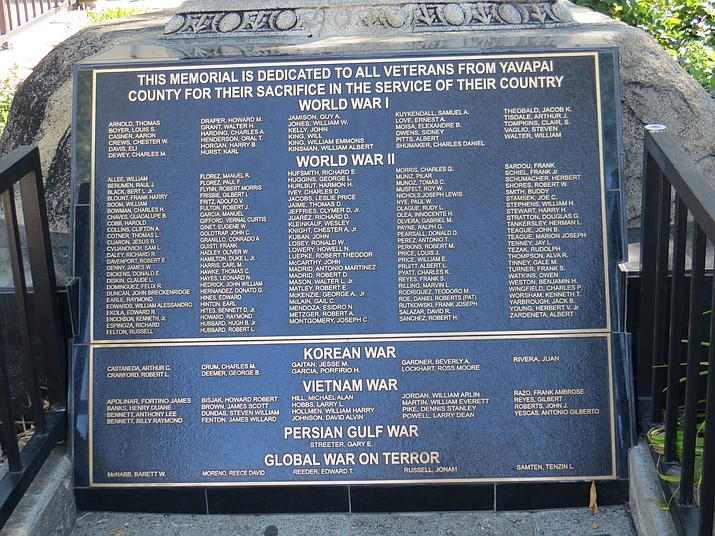 The All Veterans Memorial and Plaque on the courthouse plaza in downtown Prescott. (Courier)