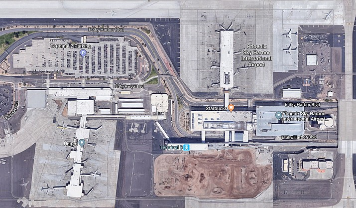 Phoenix police say an unidentified 29-year-old man who abandoned his rental car in a no-parking area and caused a Terminal 4 security shut down at Sky Harbor airport received a parking violation notice that carries a $52 fine and was ordered to pay a $75 towing fee. (Google Maps)