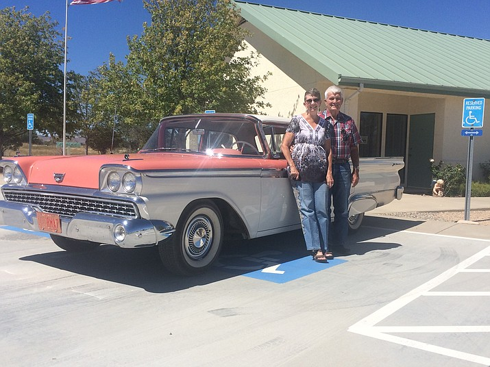 Monte and Terry Colucci with their 1959 Ford Galaxie. The car will be one among many in the Chino Valley United Methodist Church's 11th annual Antique Car Show and Barbecue Saturday, Sept. 22. (Jason Wheeler/Review)