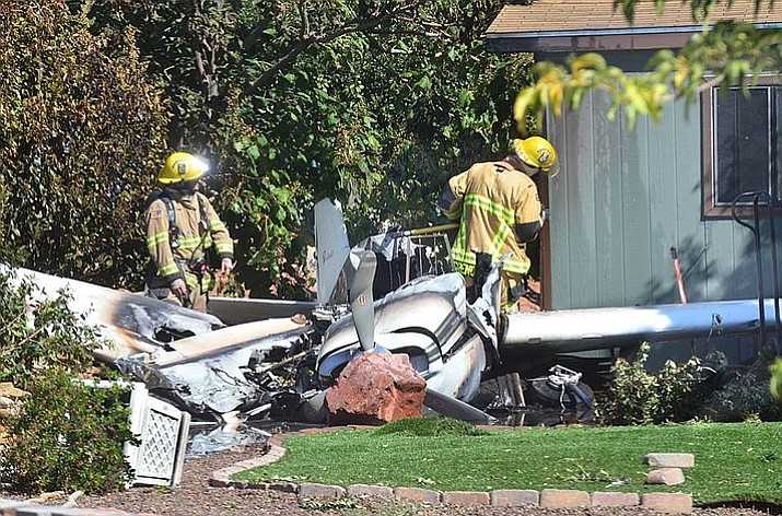 A 70-year-old male pilot survived a plane crash in a Cottonwood neighborhood Monday, Sept. 17, 2018. The single-engine Bonanza Beechcraft came down in the 900 block of Tierra Verde Circle. The cause of the crash is under investigation, but the pilot said at the scene that the engine stopped. (Vyto Starinskas/Verde Independent)