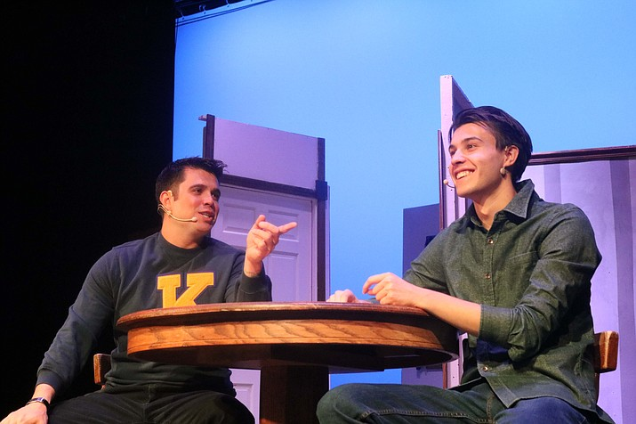 "Audiences will get a first look at Matt Lambert (left) as Biff Loman, and Adam Gatliff, playing Happy Loman, at the production's opening performance of ""Death of a Salesman"" at 7 p.m. Thursday at Lee Williams High School, 400 Grandview Ave. (Photo by Travis Rains/Daily Miner)"