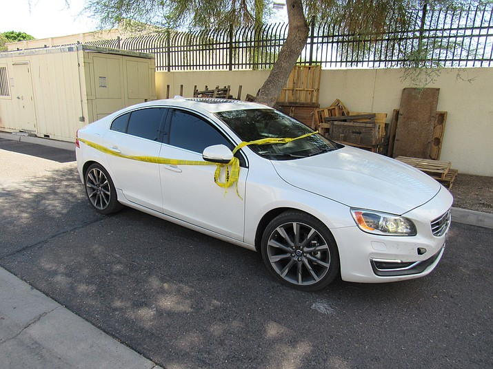 Three teenage suspects allegedly stole this white, 2015 Volvo sedan from a Prescott Valley residence and drove it down to Phoenix at high speeds while being pursued by law enforcement early Saturday morning, Sept. 15.