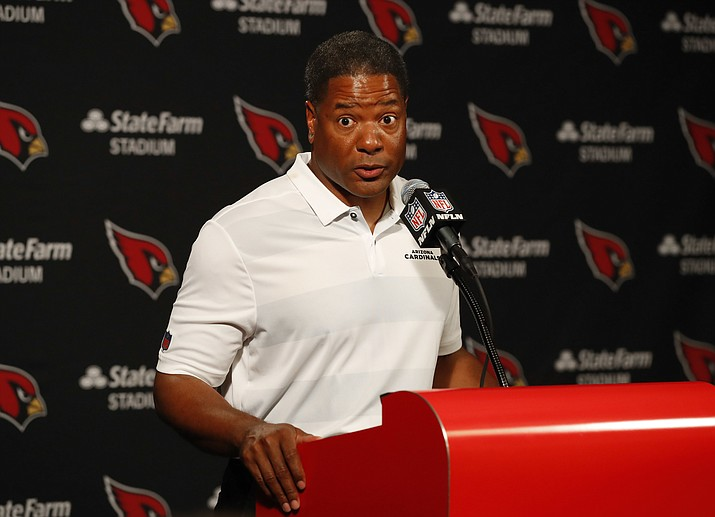 Arizona Cardinals head coach Steve Wilks speaks after a game against the Washington Redskins, Sunday, Sept. 9, 2018, in Glendale. The Redskins won 24-6. (Rick Scuteri/AP)