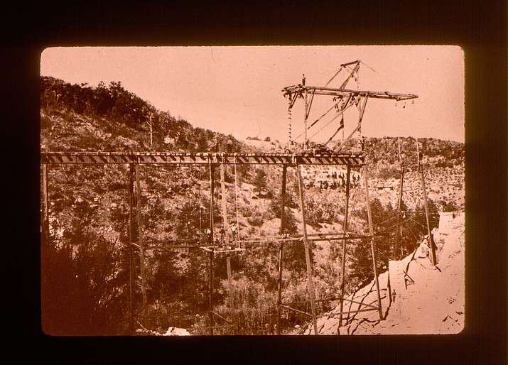 Construction begins on a tunnel and trestles in Johnson Canyon, between Williams and Ash Fork, Arizona. The Johnson Canyon Tunnel was the only tunnel constructed on the Atchison, Topeka, and Santa Fe Railroad circa 1881. (Williams Historic Photo Archives, Kaibab National Forest Collection)
