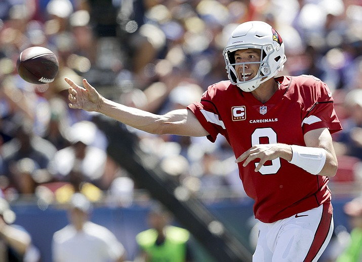 Arizona Cardinals quarterback Sam Bradford passes against the Los Angeles Rams during the first half of an NFL football game Sunday, Sept. 16, 2018, in Los Angeles. (Marcio Jose Sanchez/AP)