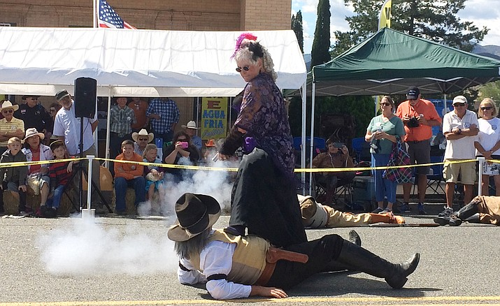 One of the Shady Ladies shoots a Prescott Regulator during a shootout at the 109th Annual Agua Fria Festival. (Jason Wheeler/Kudos)