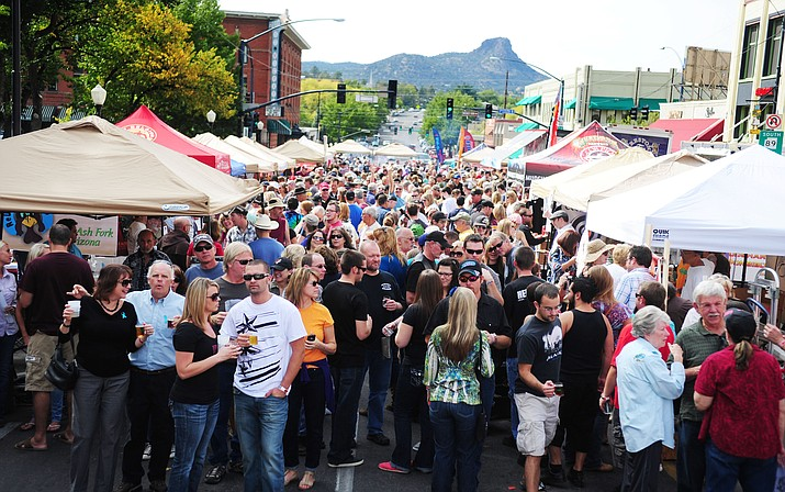 A crowd of hundreds gather for the annual Oktoberfest party in downtown Prescott.  (Kudos photo, file)