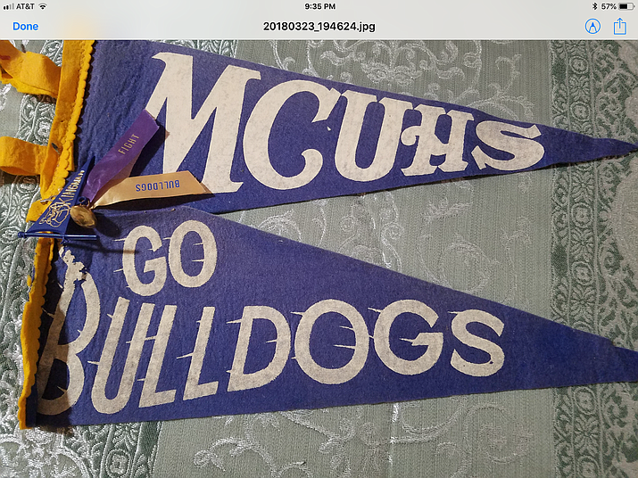 Pennants from Mohave County Union High School in the 1960s. The Class of 1968 is hosting an all-classes reunion Sept. 28-29. (Courtesy photo)