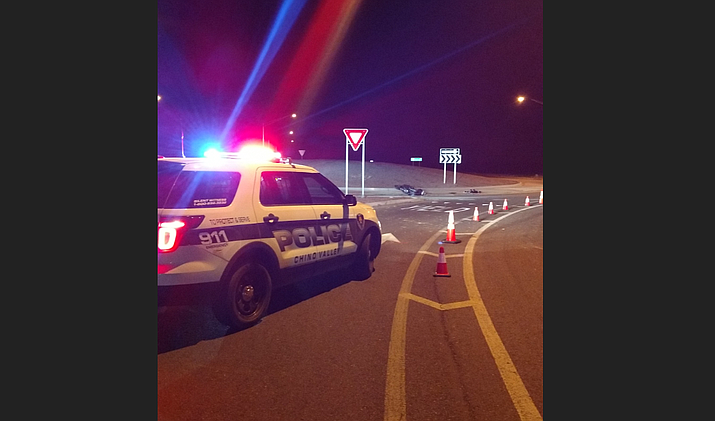 The Chino Valley Police Department responded to a motorcycle crash at the roundabout intersection of Highway 89 and Kalinich Avenue in Chino Valley Wednesday night, Sept 19.