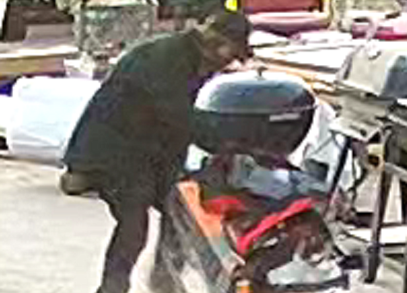 Screen image from video of burglar who stole power tools from Verde Valley Habitat for Humanity over the weekend. Courtesy/Verde Valley Habitat for Humanity