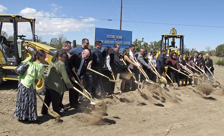 Officials with the Navajo Nation and its gambling enterprise gather for a groundbreaking ceremony for a travel center near the tribe's casino at Leupp, Ariz., east of Flagstaff, Thursday, Sept. 20, 2018. (Felicia Fonseca/AP)